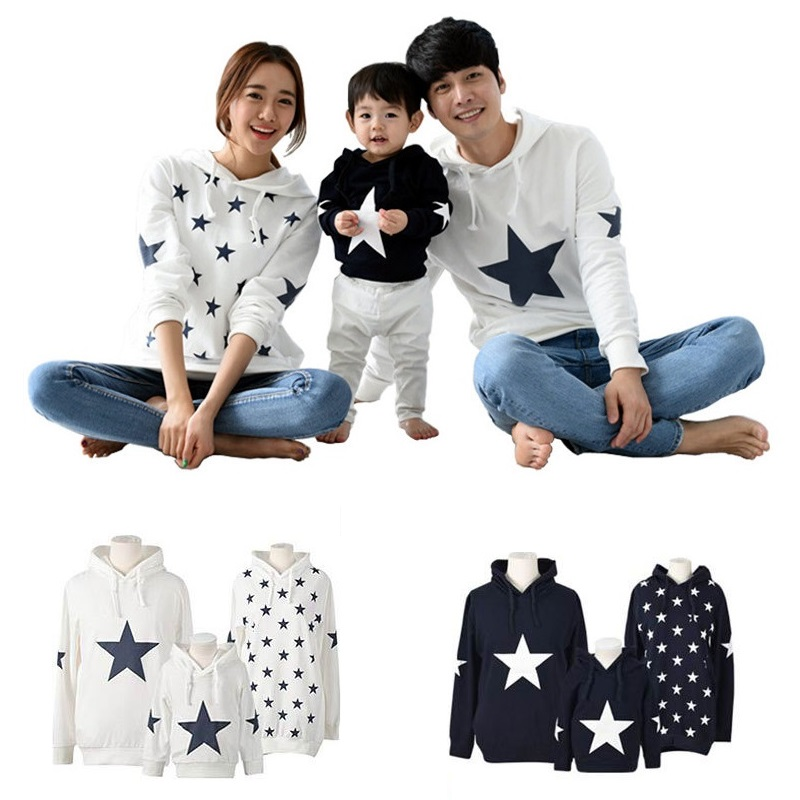 Family Matching Outfit Look Casual Family Set Stars Hoodies Father Mother