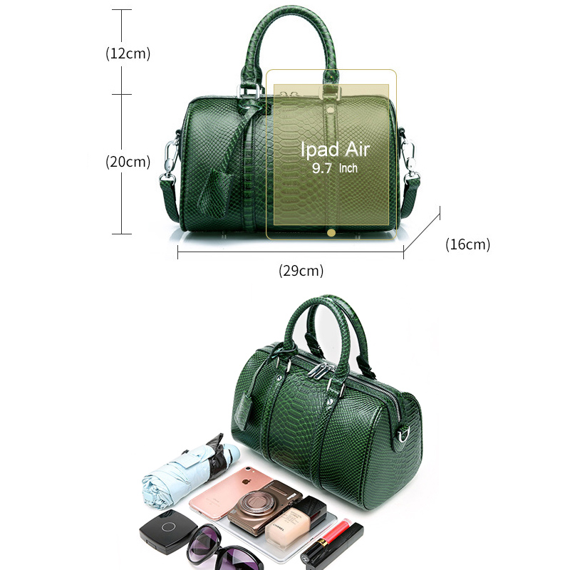 Vert Main Haute Noir Fourre bourgogne plain Dame army Bandoulière Femmes plain Black Cuir Sac Serpentine Réel tout Qualité Luxe Véritable Red Boston À De Serpent Green En Vache qIwapUp7R
