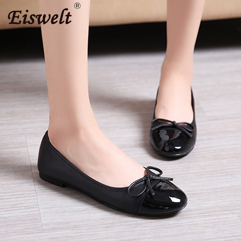 EISWELT Women Flats Spring and Autumn Ladies Fashion Casual Models Bow Soft Female Flat Shoes Shoes Mixed Colors Women Flats eiswelt women flats shoes comfortable flat air mesh spring summer shoes female casual fashion slip on shoes for women flats