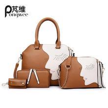PONGWEE Luxury Handbags Women Bags Female Bag Hobo Tote Set Top-handle shoulder bags Handbag Messenger Bag Purse Kors Handbag