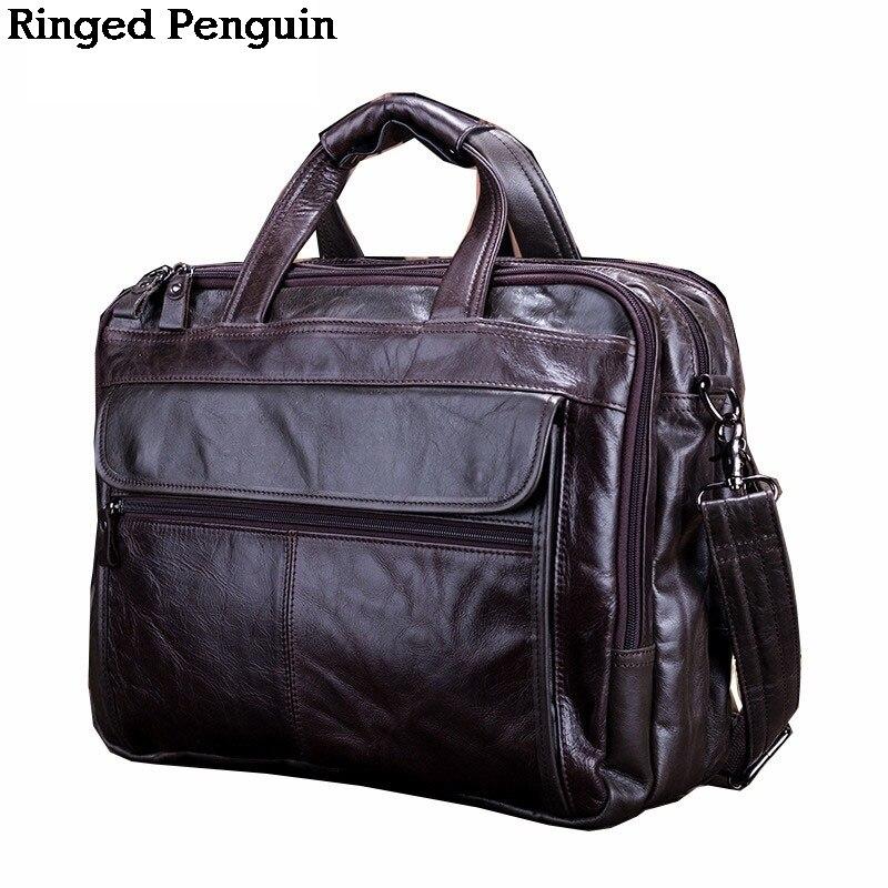 Ringed Penguin New Arrival Men's Genuine Leather handbag Messenger Pack Causal Laptop Shoulder Bag
