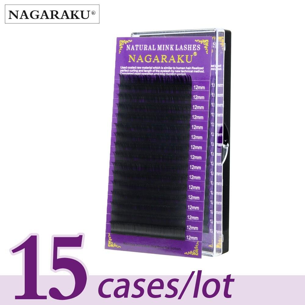 NAGARAKU 15 trays Eyelash extensions High quality faux mink individual eyelashes single size false eyelash soft