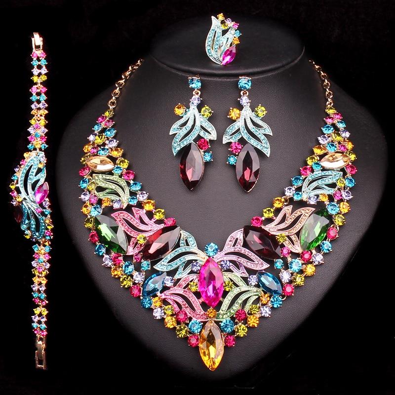 Moda Nupcial Conjuntos de Joyas Collar Pendiente Pulsera Anillo de Boda Para Las