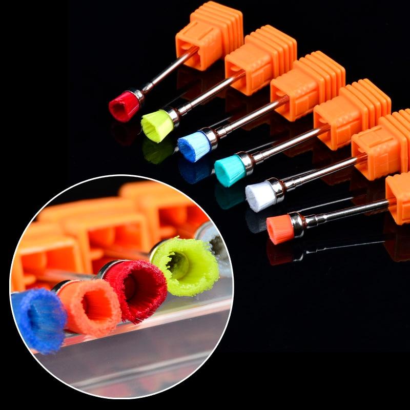 YWK 1pc Ceramic Nail Drill Bit Brushes High Quality Nail Machine Files Nail Art Cleaning Tools Random Color