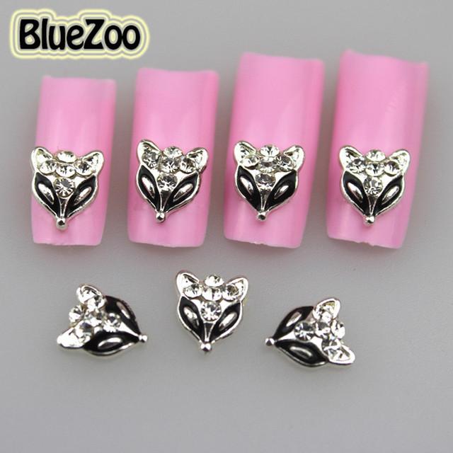 BlueZoo 100 unidades/pacote 3D Pedrinhas Metallic Black Fox Cabeça Projeto Liga de Prata Da Arte Do Prego Strass Studs Decoração 9mm * 8mm