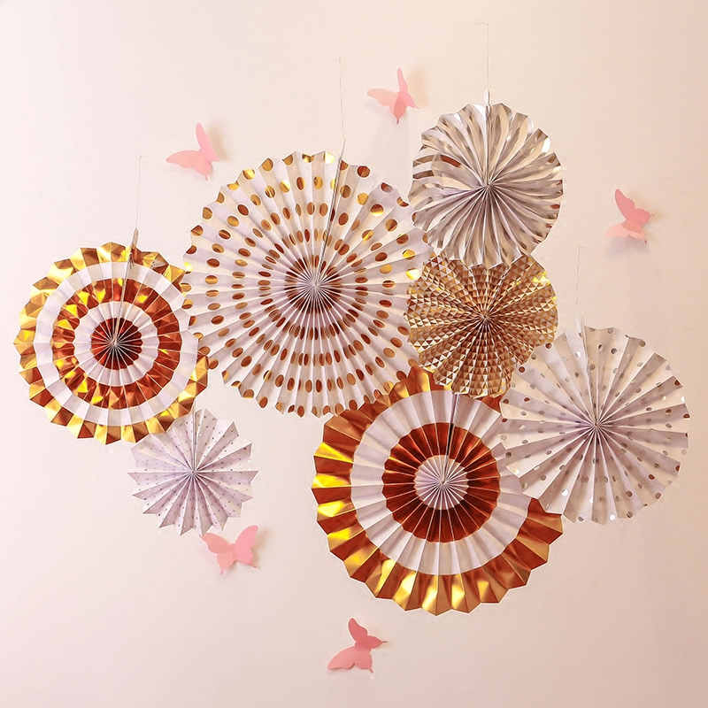 Image 2 - 8pcs Gold Silver Rosettes Pom Wheels Ivory and Gold Pinwheels Party Paper Fans Rosettes Photo Backdrop Wedding Decoration-in Party Backdrops from Home & Garden