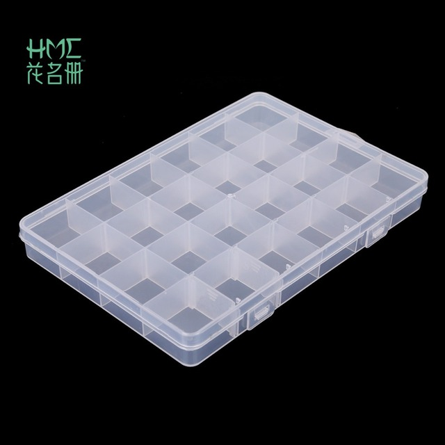 מכירה לוהטת 24 חריצי פלסטיק תיבת אחסון מקרה שקוף מלבן ארגונית חרוזים עגיל תכשיטי מיכל 2017 חדש הגעה