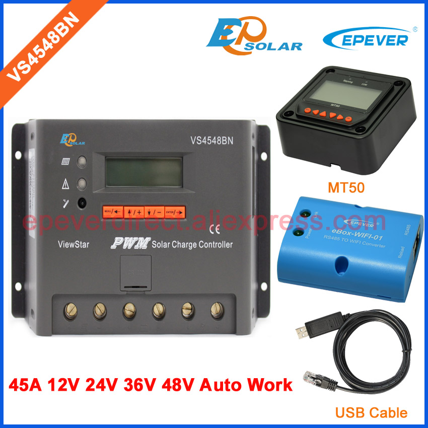 24V Solar Battery Charger 36V/48V auto work EPEVER EPsolar PWM series ViewStar product 45A VS4548BN Wifi and MT50 remote Meter vs6048au 48v battery charger work solar 60a controller pwm viewstar series 36v 24v auto work epever epsolar lcd display 60amps