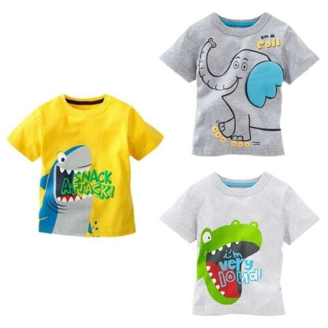 Pudcoco 2019 קיץ קצר שרוול קריקטורה פעוט תינוק ילדי בני כותנה חולצות חולצה דינוזאור כריש בגדים 1-6Y