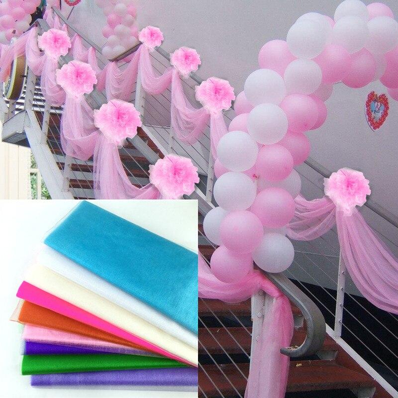 48cm x 10m Mariage Yarn Tulle Roll Sheer Crystal Organza Fabric Birthday Event