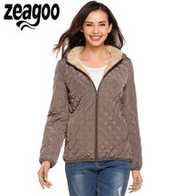 Zeagoo Women Hooded Light Weight Winter Down Jacket Short Slim Coat With Fleece Lining Female Warm Clothes High Quality Coats