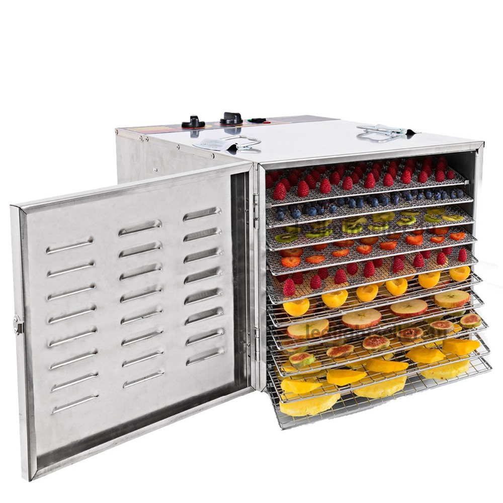 10 Layers Stainless Steel Electric Dehydrator Food Vegetables Fruit Jerky Dryer Drying Machine Blower цена
