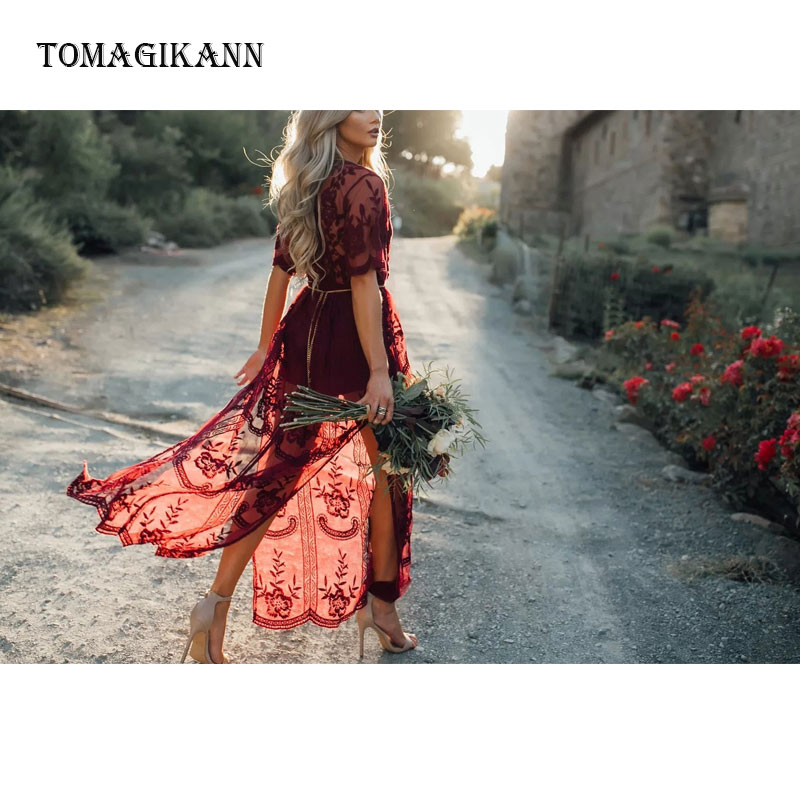 2019 Red Sexy Transparent Lace Long Slit Dress Embroidery V Neck Slip Half Sleeve Women Dresses Holiday Beach Dress in Dresses from Women 39 s Clothing