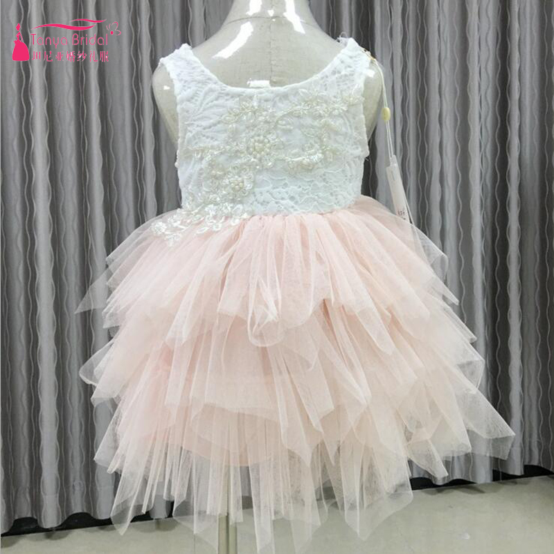 Lovely Cute Blush   Flower     Girls     Dresses   TuTu Tiered Skirts   Girls   Pageant Gowns For Wedding And Bthday Party ZF054
