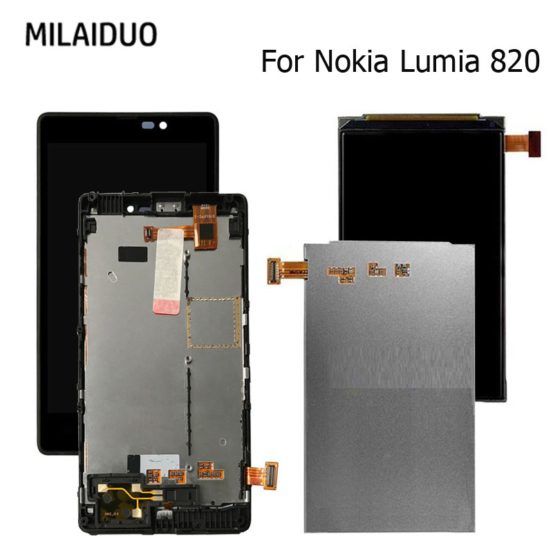 Original LCD Display For Nokia <font><b>Lumia</b></font> <font><b>820</b></font> Touch <font><b>Screen</b></font> Digitizer Glass Sensor Assembly Black With Frame 4.3