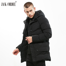 JACK CORDEE Top Quality Jacket Men Solid Windproof Casual Outerwear Thick Warm Winter Parkas Pocket Hooded Medium Long Coat(China)