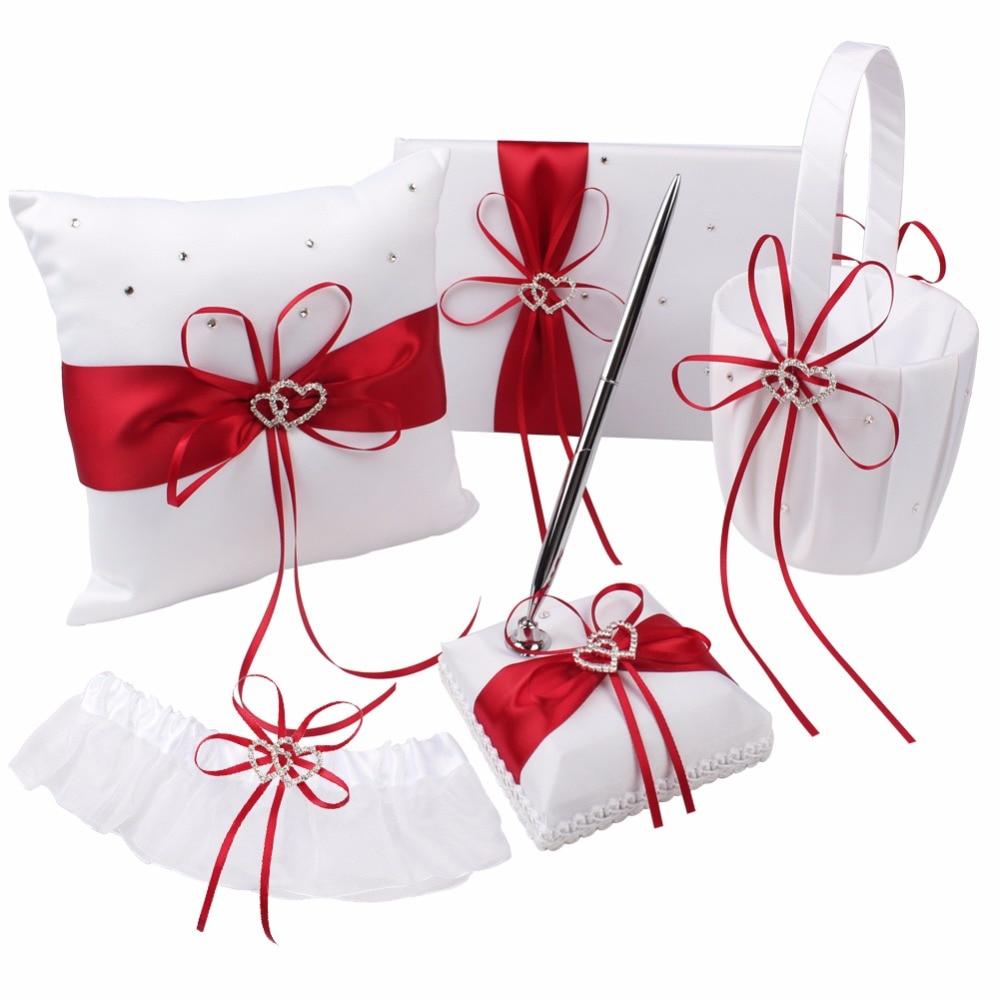 5 pcs/lot mariage invité livre et stylo ensembles marque anneau oreiller fleur panier pour décoration de mariage événement fête fournitures 8 couleurs - 5