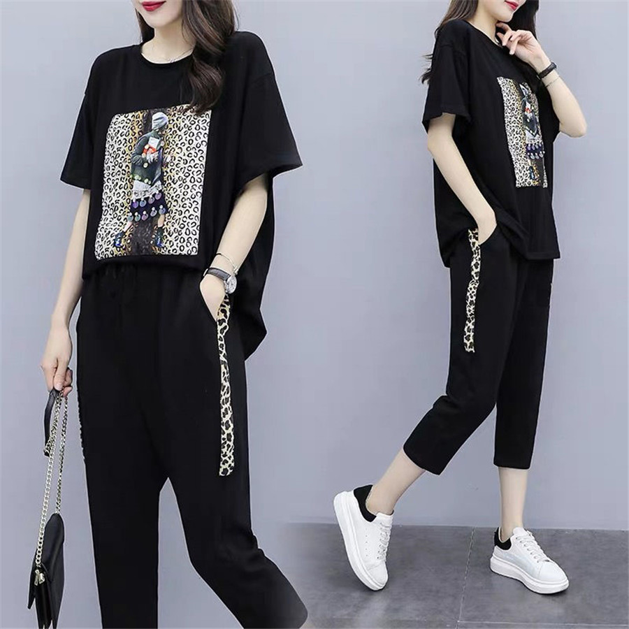 Outfit Tracksuit Sportswear Set For Women 2 Piece Set Plus Size Top And Pants Suits Female 2019 Summer Clothing
