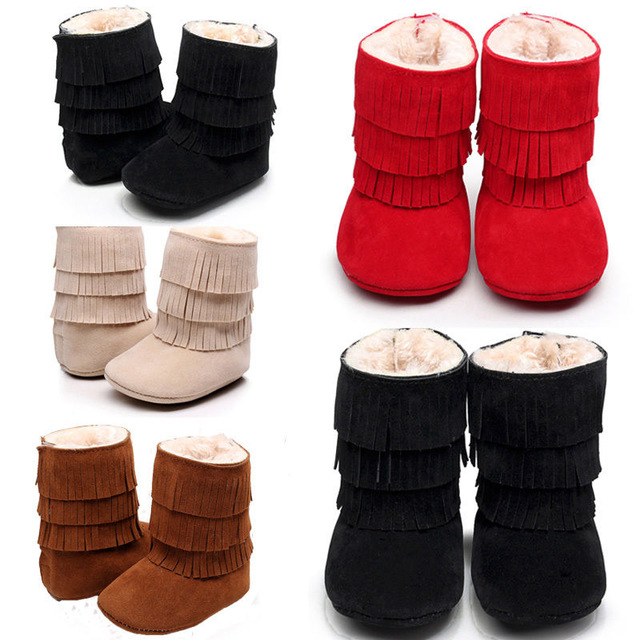 Hot Sale Baby Winter Super Warm PU Leather Infant Suede Boots Baby Moccasins Fringe Soft Bottom Crib Fur booties Shoes 0-24M