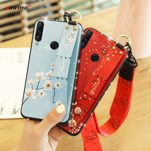Vintage Wrist Strap Soft TPU Phone Case For Xiaomi Redmi Note 7 Cases Cover Flower Wristband Jewelled Lanyard Holder Fundas