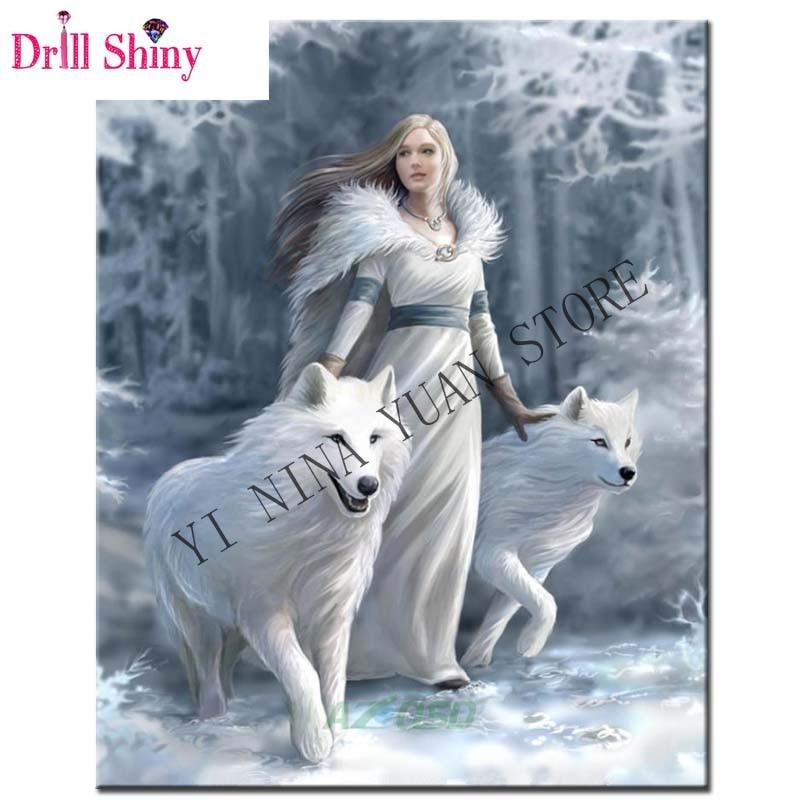 Full,Round,Diamond Embroidery,Girl,white Wolf ,5D,Diamond Painting,Cross Stitch,3D,Diamond Mosaic,home Decor,Needlework,Gift,kit