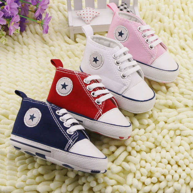 bc803bcee6fa 1Pairs Baby Shoes Brand Newborn Baby Girl Shoes Boys Kids Sports Sneakers  Infant Sapatos Newborn Prewalker Non-Slip Canvas Shoes