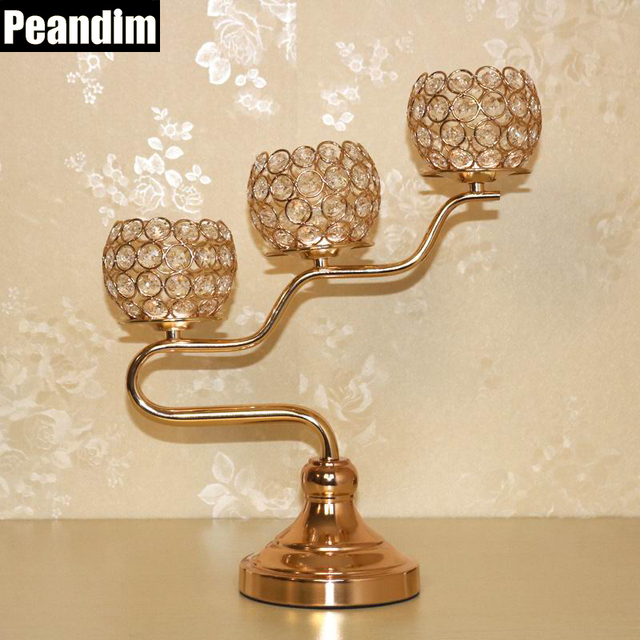 PEANDIM Three-arms Candle Holders Gold Plate Tea Light Metal Candlestick Votive Candle Holder Wedding & PEANDIM Three arms Candle Holders Gold Plate Tea Light Metal ...