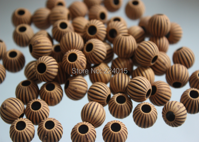 Freeshipping!150pcs/10mm Acrylic Big Hole Round Imitation Natural Wood Print Classical Beads For Necklace / Bracelet DIY