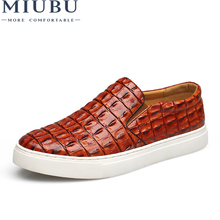 MIUBU Fashion Style leather men flats shoes Casual Crocodile Loafers High Quality moccasins