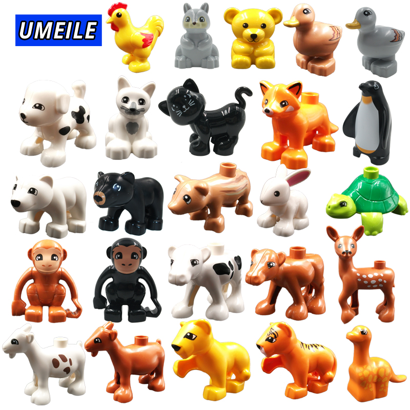 UMEILE Block Brick Diy Zoo Animal Series Big Particle Building Blocks Penguin/Fox Kids Baby Bath Toys Compatible with Duplo Gift
