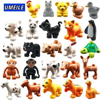 UMEILE Block Brick Diy Zoo Animal Series Big Particle Building Blocks Penguin/Fox Kids Baby Toy Compatible with Duplo