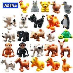 UMEILE Block Ziegel Diy Zoo Tier Serie Große Partikel Bausteine Pinguin/Fuchs Kinder Baby Spielzeug Kompatibel mit Duplo