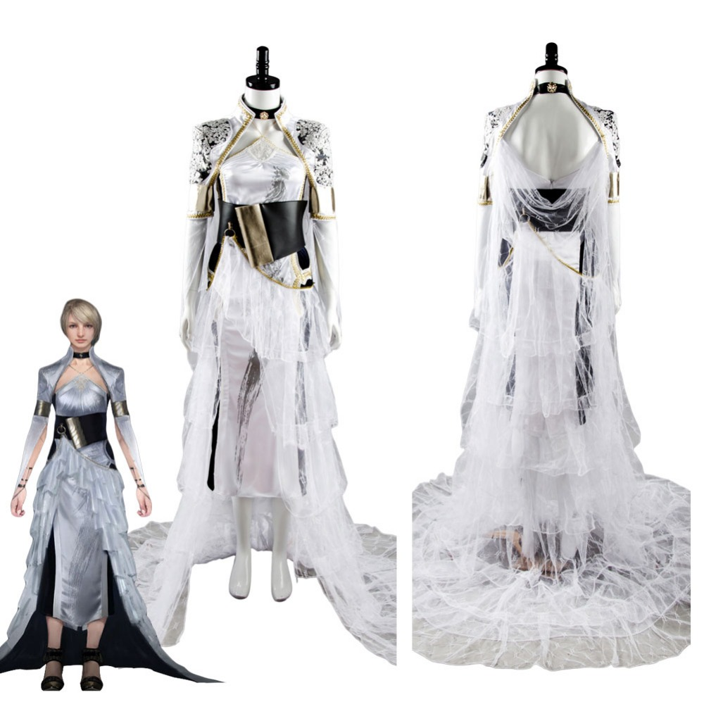 2017 FF Kingsglaive XV Lunafreya FF15 Nox Fleuret Vestido Trajes Cosplay Festa Mulher Vestidos de Noite Manto Halloween