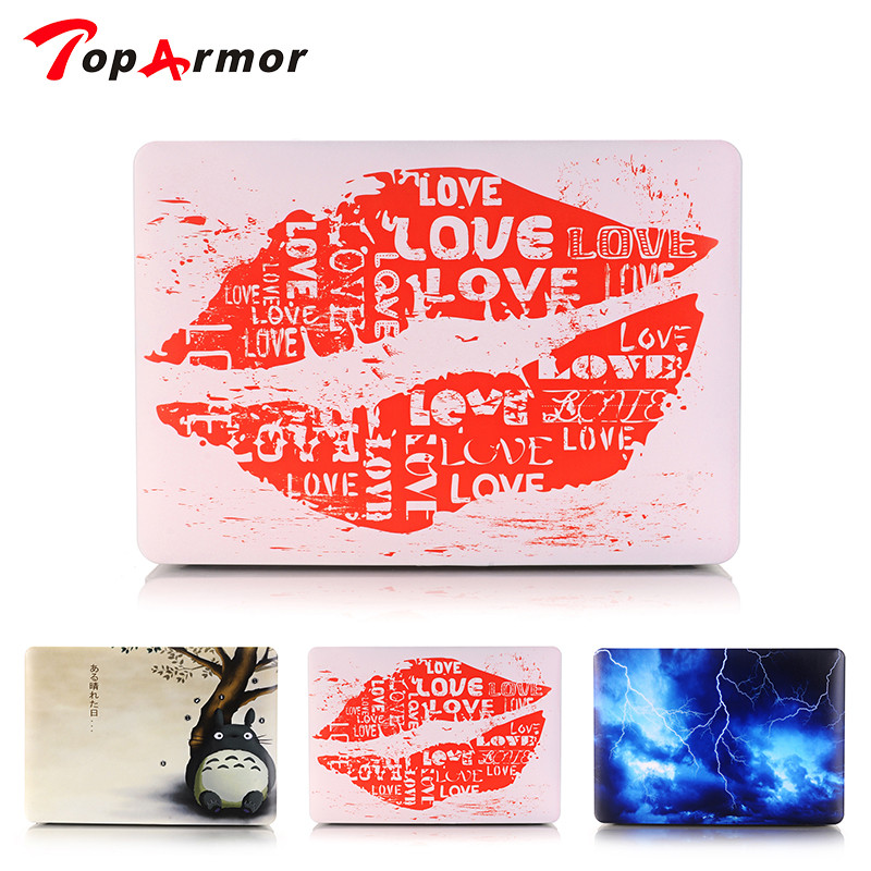 TopArmor Red lips Printed Case For MacBook Air 11 A1465 Air 13 inch A1466 Pro 13.3 15 A1278 Retina 13 A1502 Laptop Case Gift