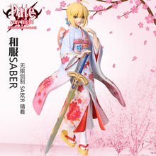лучшая цена Anime Fate Stay Night 25cm kimono Saber Sexy Girl Anime PVC Action Figure Toys Collection Model EO15