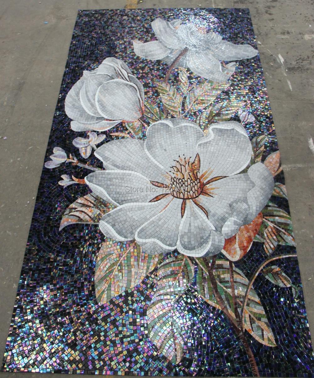 Fabrik Verkauf Blumen Glasmosaik Schneiden Back Mosaik Fliesen