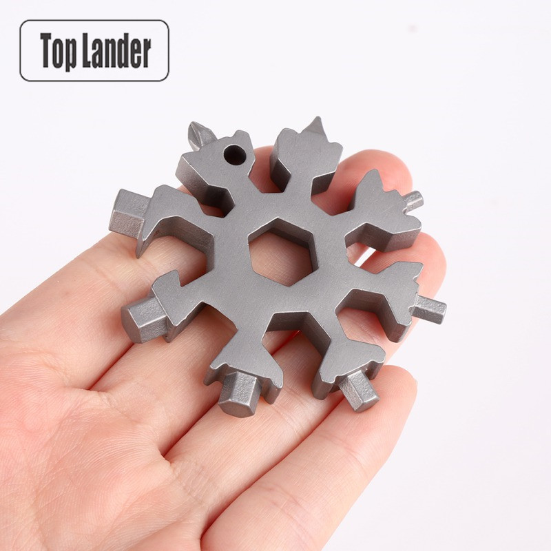 18 In 1 Stainless Steel Snowflake Multi Tool Card Outdoor Camping Equipment Hiking Pocket Mini EDC Survival Keychain Tools Gear