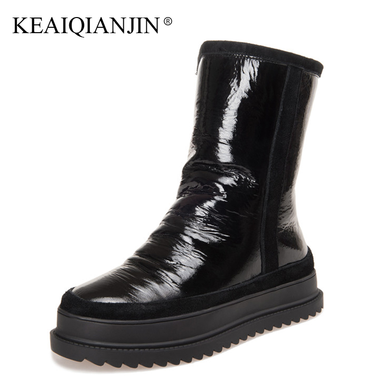 KEAIQIANJIN Woman Fur Snow Boots Fashion Winter Genuine Leather Wool Shoes Platform Black Silvery Shearling High Boots 2018 keaiqianjin woman studded snow boots pink black winter genuine leather flat shoes flower platform fur crystal ankle boot 2017