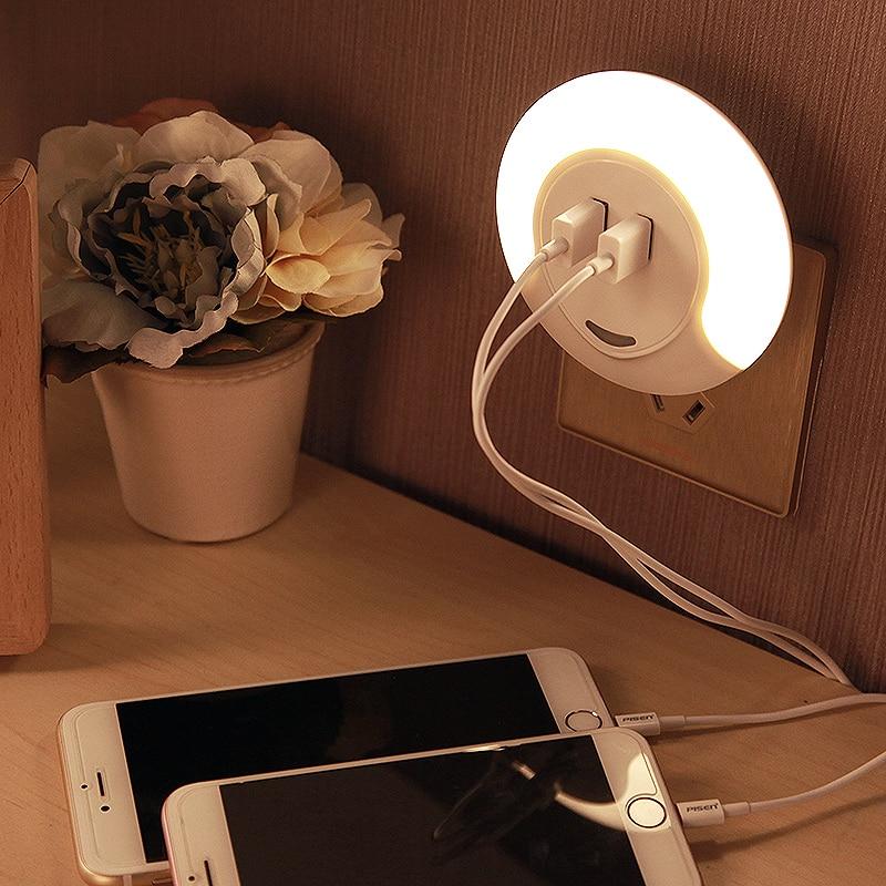 LED Night Light Sensor 2 USB Charging Socket LED 110V 220V 0.5W Automatic Night Lamp Intelligence Warm White For Bedroom
