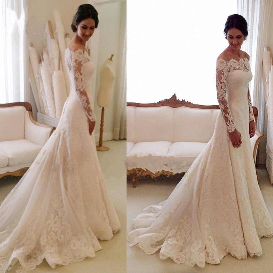 White off the shoulder lace long sleeve bridal gowns for Wedding dresses with sleeves cheap
