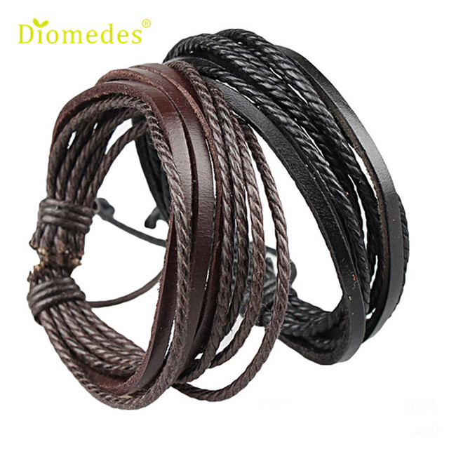 Handmade Leather Bracelets Black And Brown Wild Tribe Style
