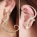 1 PC 2016 Fashion Rhinestone Ear cuff Earrings,luxury Elegant  rose gold exaggerated gecko lizards and snake Stud Earrings
