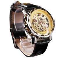 Men Classic Black PU Leather Wrist Watches Male Gold Dial Skeleton Mechanical Sport Army Reloj Kol
