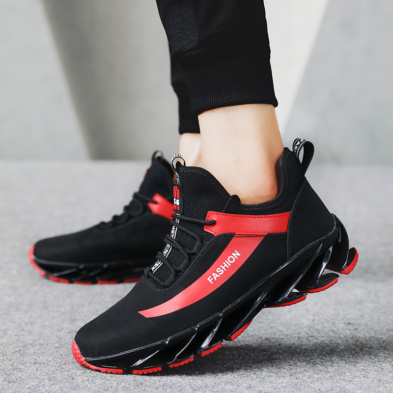 popular brand super cheap free shipping US $31.01 34% OFF|Spring Mens Best Running Shoes Mid Top Gym Shoes Outdoor  For Men Black White Mens Trainers Running Pu Leather Athletic Men Shoes-in  ...
