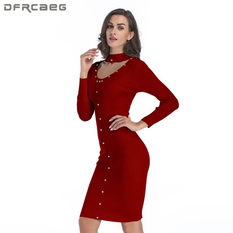 Sexy Hallow Out Knitted Dress Women Clothing Winter 2018 Fashion Long Sleeve Casual Sweater Bodycon Dress With Beading Women long sleeve bodycon dress with slits