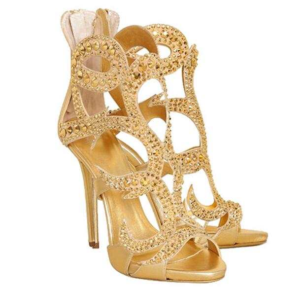a4843bdafe4 Online Shop Luxury Gold Crystal High Heel Sandals Women Peep Toe Cut-out  Cage Shoes Back Zipper Gladiator Sandals Boot For Women Big Size 10