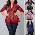 Mulheres Rendas de Manga Comprida Solta Camisa Casual Tops PLUS SIZE XL 2X 3X 4X 5XL