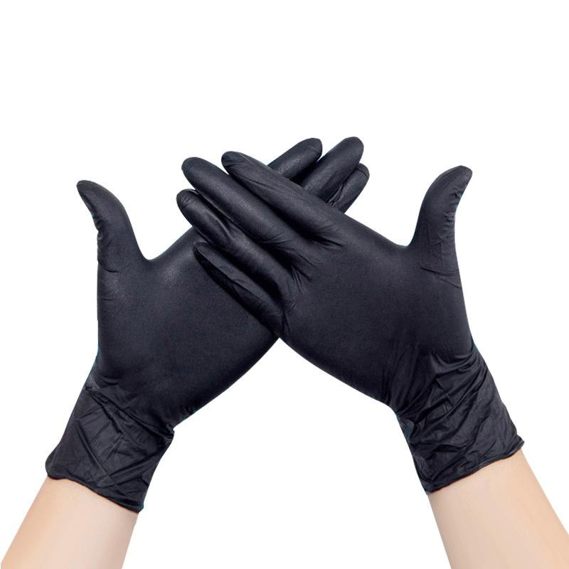 100/20PCS Disposable Latex Medical Anti-virus Gloves Universal Cleaning Work Finger Gloves Protective For Safety Black ST04