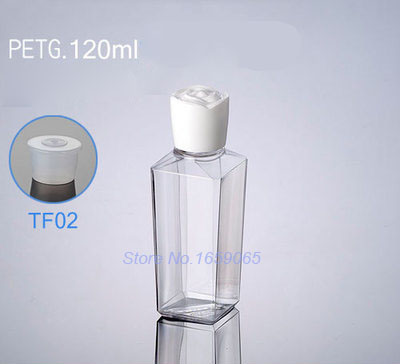 120ML transparent square plastic lotion empty skin care make up water toner bottle cosmetic packaging bottle
