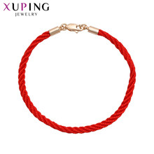 Xuping Simplicity Red Rope Bracelet New Arrival Women Friendship Gold Color Plated Bow Pattern Jewelry Gift S99-75558(China)